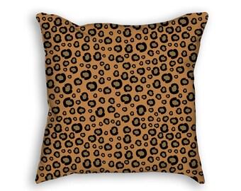 Safari Pillow Cover. Animal Pattern Pillow Cover. Leopard Pattern Pillow. Designer Pillow. Brown Pillow Cover. African safari pillow cover.