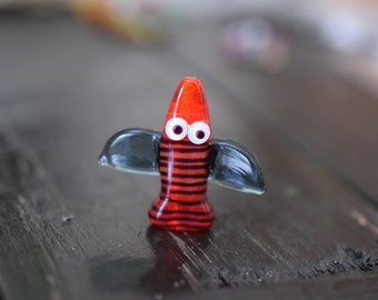 Handmade Whimsical Bird Lampwork Glass Bead Pendant, 1pc