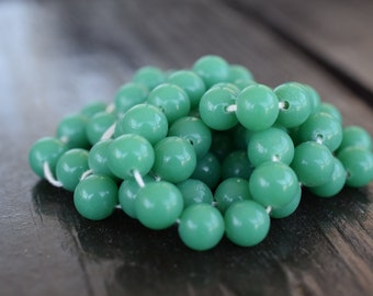 8mm Miriam Haskell Jade Green Cherry Brand Japanese Glass Beads, 30pcs