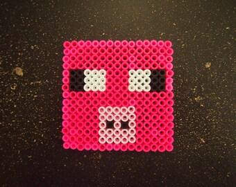 Minecraft Pig Perler magnet