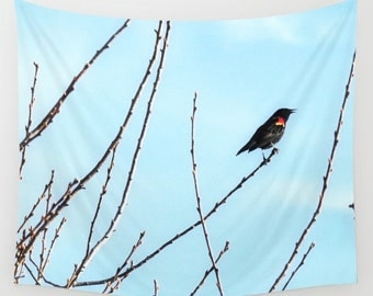Bird Wall Tapestry / Red Winged Black Bird Tapestry / Printed Wall Tapestry / Bird Decor / Aldari Home