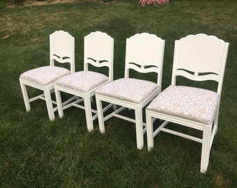 Four Dining Chairs, White Chairs