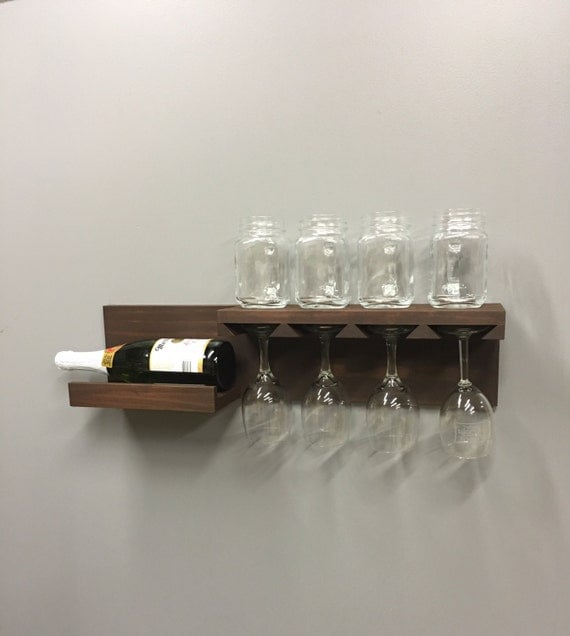 wall mounted wine rack with shelf and glass holder ready to. Black Bedroom Furniture Sets. Home Design Ideas