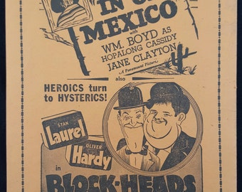 Original 1938 Blockheads, Sky Giant, Boy Meets Girl, In Old Mexico Movie Poster Theater Herald Playbill Playbook Laurel And Hardy