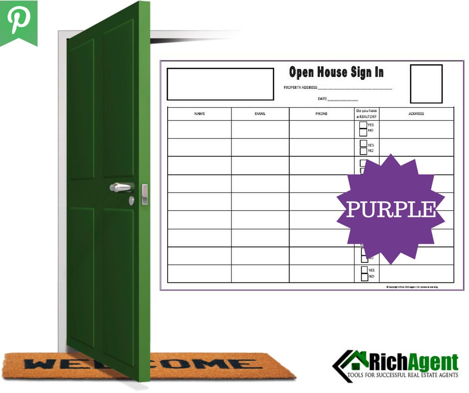 Open house sign in sheet purple real estate forms open for Realtor open house sign in sheet template