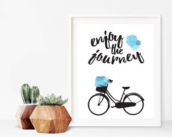 Blue Enjoy The Journey Bicycle Print Digital Sign