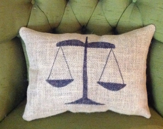 Throw Pillows With Jewels : Scales Of Justice Burlap Pillow Burlap Pillow Throw Pillow