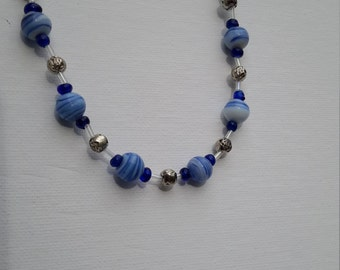 Blue and silver beaded necklace