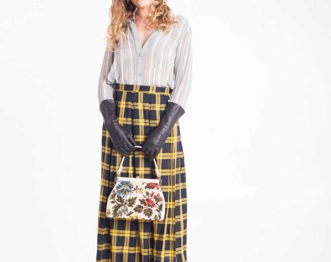 Vintage Estate Breckenridge  Black Yellow Midi Skirt