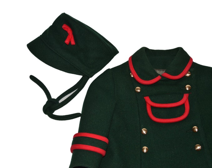 Vintage Estate Rainbow Green Wool Peacoat Lord & Taylor Kids Coat