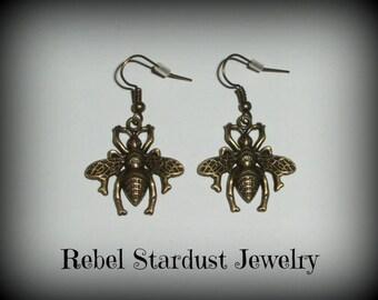 Large bee steampunk style earrings