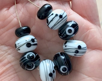 White  black  set beads  handmade lampwork glass bead set 9 beads