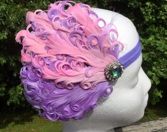 Pink Feather Headband, Purple Feather Headband, Stretchband, Curly Feather Band, Jeweled Feather Band