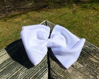 6 Inch Big White Oversized Large Bow With Clip. White/Big/Oversized/Bog Bow