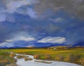 Original pastel painting. Landscape painting. Valley storm. Storm painting. Fine art. Nature painting.