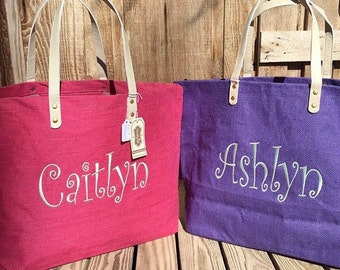 ONLY 19.98!!!!  Monogram Jute Tote Burlap Bag, MudPie Brand, Bridesmaid Gift