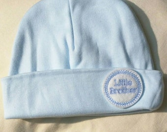 Baby Boy Hat. Blue or White Hat with Blue Little Brother. This Newborn Beanie will fit 0-6 Months Every New Baby Boy Should Have! Adorable!