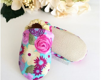 Spring Floral Soft Sole Baby Moccs - Genuine Leather