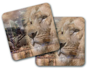 Quirky Lion City Coasters (Set of 4) (CO778)