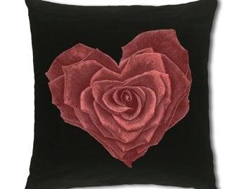 Heart Rose Design Cushion Cover (C759)