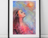 portrait face girl woman moon sky watercolor original painting on paper modern art blue red green free shipping.