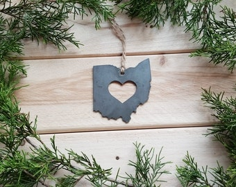 Ohio Christmas Tree Ornament OH State rustic raw steel Heart Christmas Tree decoration Host Gift Keepsake Wedding Favor personalized By BE