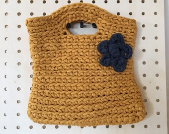Ladies or girls crochet bag / crochet tote bag / handbag / t.shirt yarn crochet bag / chunky crochet / cotton yarn / mustard and navy bag
