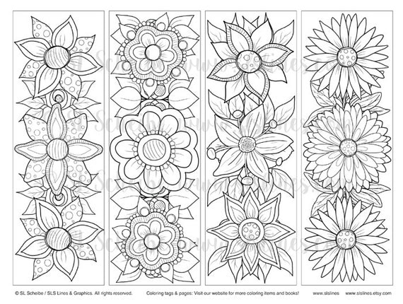 Printable PDF Bookmark Coloring with retro pop flower design