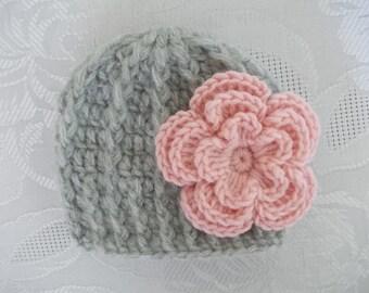Crochet baby hat, mohair newborn hat, baby girl hat, crochet baby beanie, hospital hat, girl photo prop, gray newborn hat, baby girl beanie
