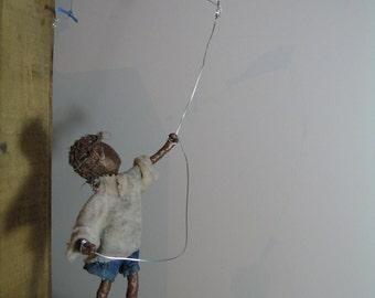 Kite Flyer - boy.  Made to order