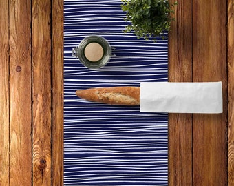 Modern Table Runner, Cotton Table Runner, Indigo Blue Table Runner, Lines Table Runner, Scandinavian Kitchen Decor, Graphic Table Runner