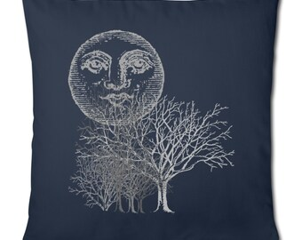 Moon And Trees Face Celestial Woods Forest Navy Blue Cotton Cushion Cover Pillow Case. 45 x 45 cm. Cover Only, Cushion Not Included..
