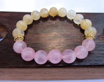 Happiness Bracelet Rose Quartz Citrine Happiness Bracelet Healing Bracelets Happiness Bracelet Mala Rose Quartz Citrine Bracelet Meditation