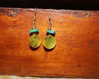 Turquoise Green Shell Earrings