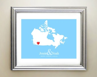 Canada Custom Horizontal Heart Map Art - Personalized names, wedding gift, engagement, anniversary date