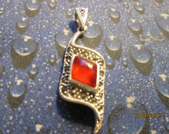 Handcrafted Art Deco 1.97ctw Genuine Red Obsidian & Marcasite Sterling Silver 925 Pendant, Weight 5.9g