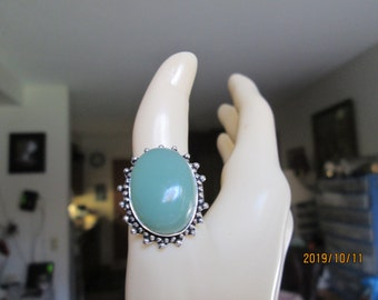 Handcrafted Chalcedony Gemstone Sterling Silver 925 Ring Size 8.5, Wt. 6 Grams