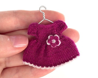 Miniature knitted dress for 2.5 - 2.7 inches  doll/ Doll clothing, dollhouse miniature dress, Playscale, 1:12, Dolls wear