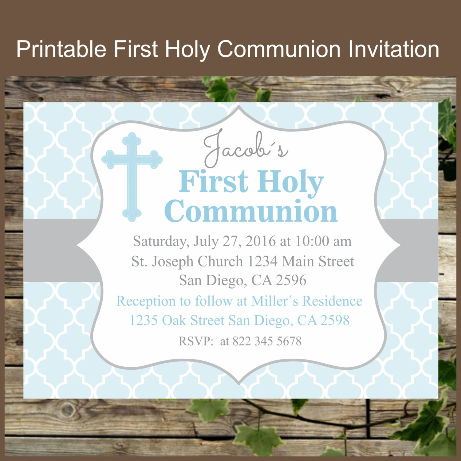 Impertinent image regarding printable first communion invitations