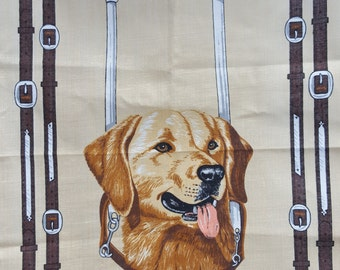 Souvenir teatowel Guide Dogs for the Blind featuring picture of a labrador and harness Irish Linen made in Ireland