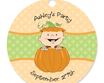 Little Pumpkin Caucasian Personalized Party Tags - Baby Shower or Birthday Party DIY Craft Supplies- 20 Count