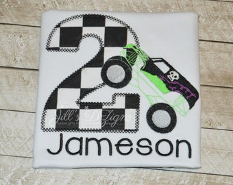 Personalized Grave Digger Birthday Shirt Monster Truck Lime Green Purple. Grave Digger Birthday Party. Monster Truck Rally. Boys Birthday.