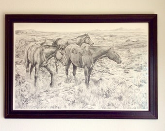 "Horses, Western Pencil (Graphite) Drawing ""Desperado"" L.E. Print"