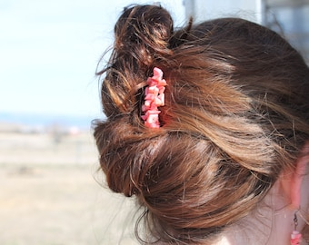 Coral cowgirl hair comb