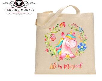 Unicorn gift, Unicorn tote Bag, Unicorn Shopper, Unicorn eco bag, eco friendly bag, natural cotton shopper with long handles, PRINT ONLY