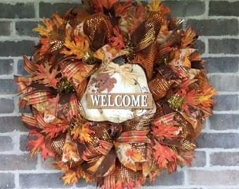 Deco Mesh Wreath for Fall Mesh Wreath, Thanksgiving Decor, Welcome Wreath Fall Wreath, Thanksgiving Wreath for Front Door Wreath Fall Decor