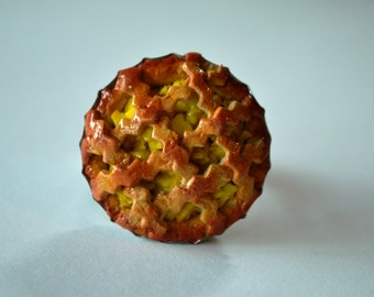 Apricot pie ~ polymer clay ring
