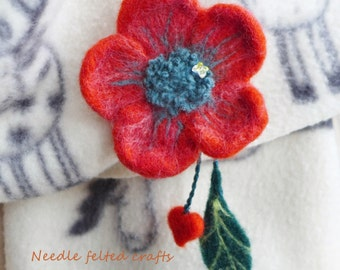 Needle felted red flower brooch with leaf and heart tie and red wool matching necklace OOAK handmade set