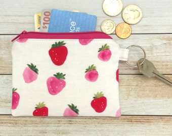 Strawberries In Watercolor Coin Purse Keychain Zipper Coin Pouch Change and Card Wallet Party Favor Bridal Gift