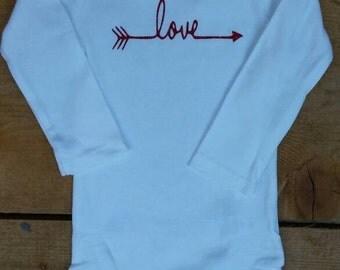 Valentine Love Red Glitter Vinyl Love with Arrow Bodysuit for Infant Toddler Girl